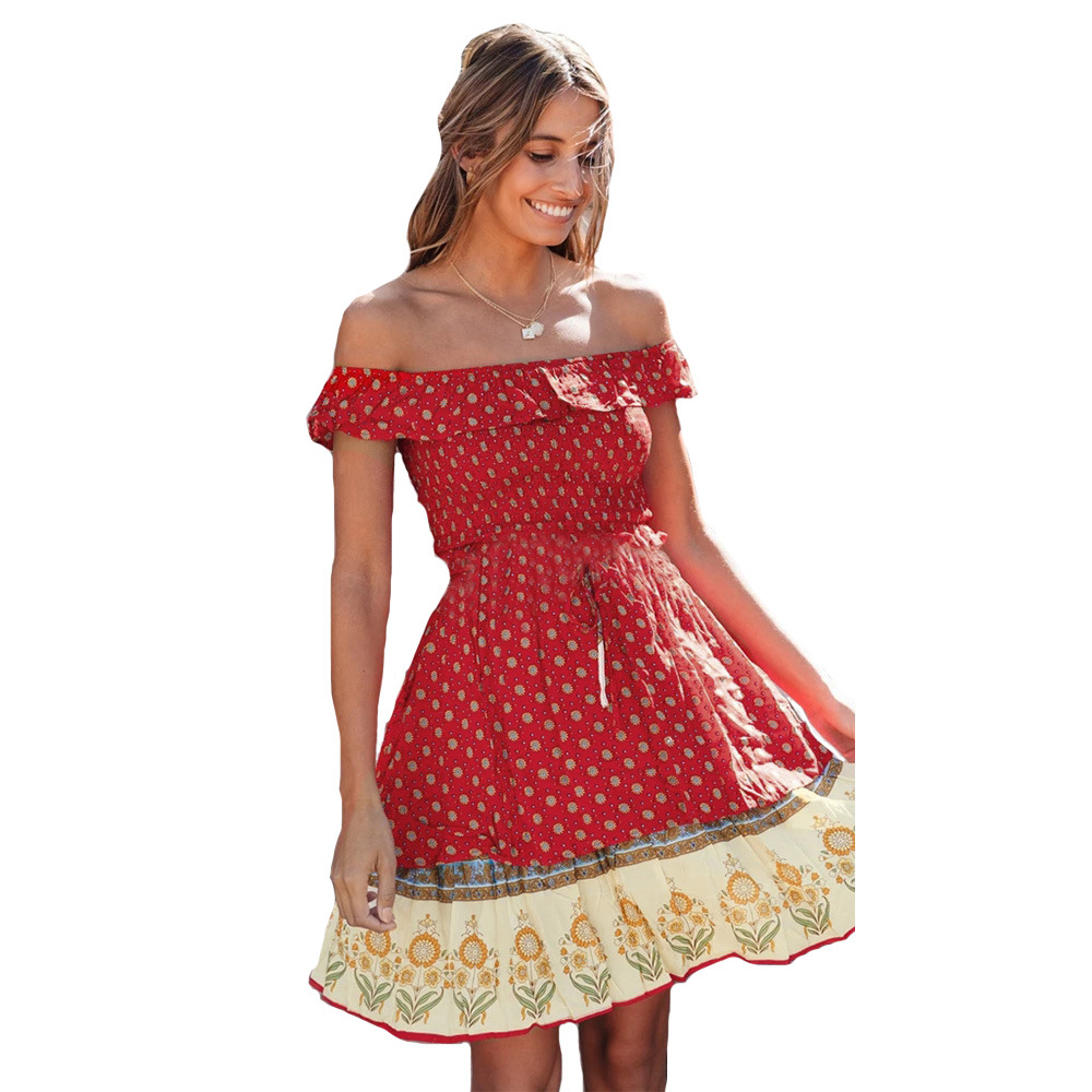 2020 print summer <font><b>dress</b></font> bohemian <font><b>slash</b></font> neck <font><b>sexy</b></font> mini <font><b>dress</b></font> girls red flower short-sleeved sweet <font><b>dresses</b></font> vestidos image