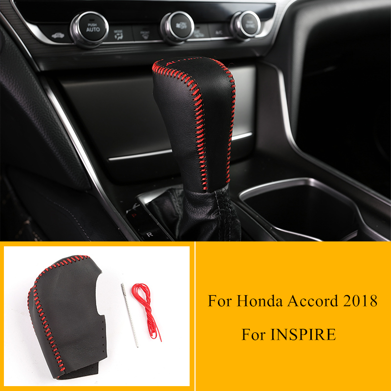 Car Gear Lever Non-slip Leather Case Hand-stitched Genuine Leather Decorative Accessories For Honda Accord 2018 For INSPIRE
