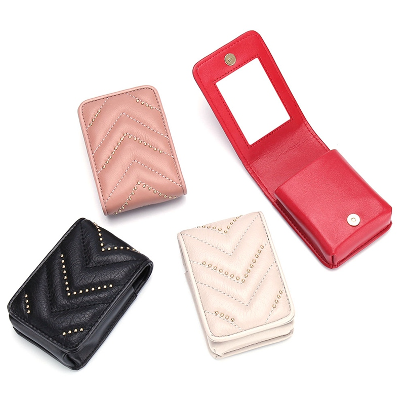 1 PC Women Girls Portable Beauty Cosmetic Packet Case Studded Genuine Leather Makeup Bag Women Lipstick Make Up Bag With Mirror