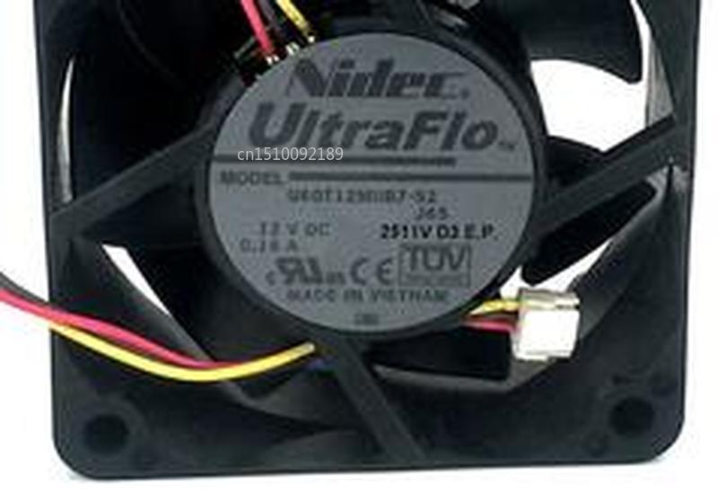 For U60T12MUB7-52 J65 DC 12V 0.16A 60x60x25mm Server Cooler Fan Free Shipping