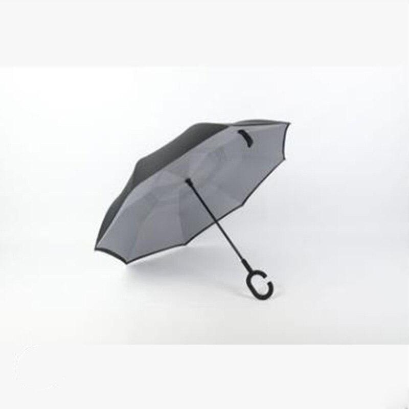 Double couche voiture droite publicité inverse parapluie créatif c-type libre logo personnalisé parapluie Double usage crème solaire