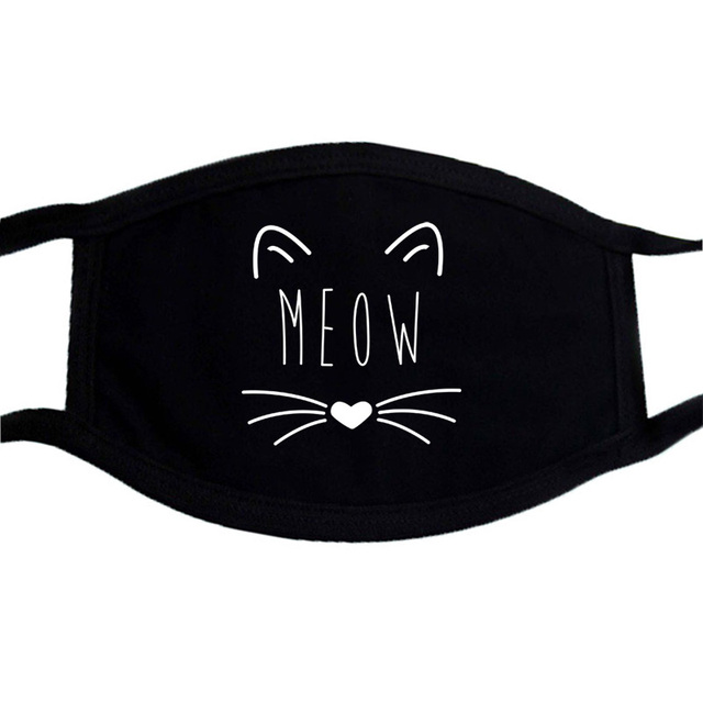Cat Paws Printed Respirator Cartoon Lovely Black Washable Masks Keep Warm Cute Face Mask Dust Mouth Muffle Mask Kpop