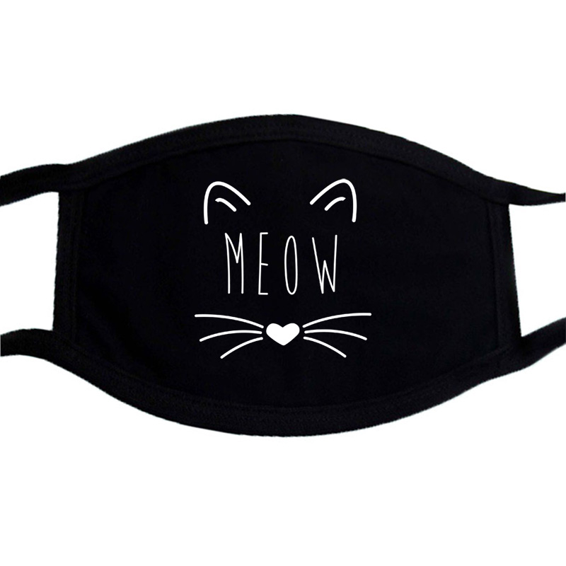 Cat Paws Printed Respirator Cartoon Lovely Cotton Black Bilayer Masks Keep Warm Cute Mask Dust Mouth Muffle Mask Kpop