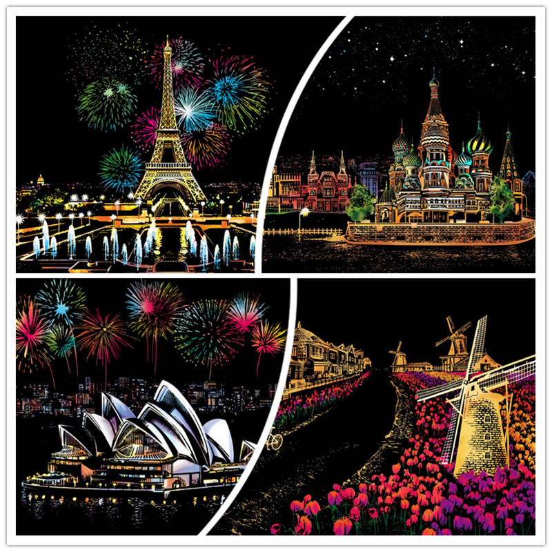 DIY Magic Scratch Painting Netherlands New York Venice Sydney Opera Home Decor Picture Art Crafts Place of Interest Gifts