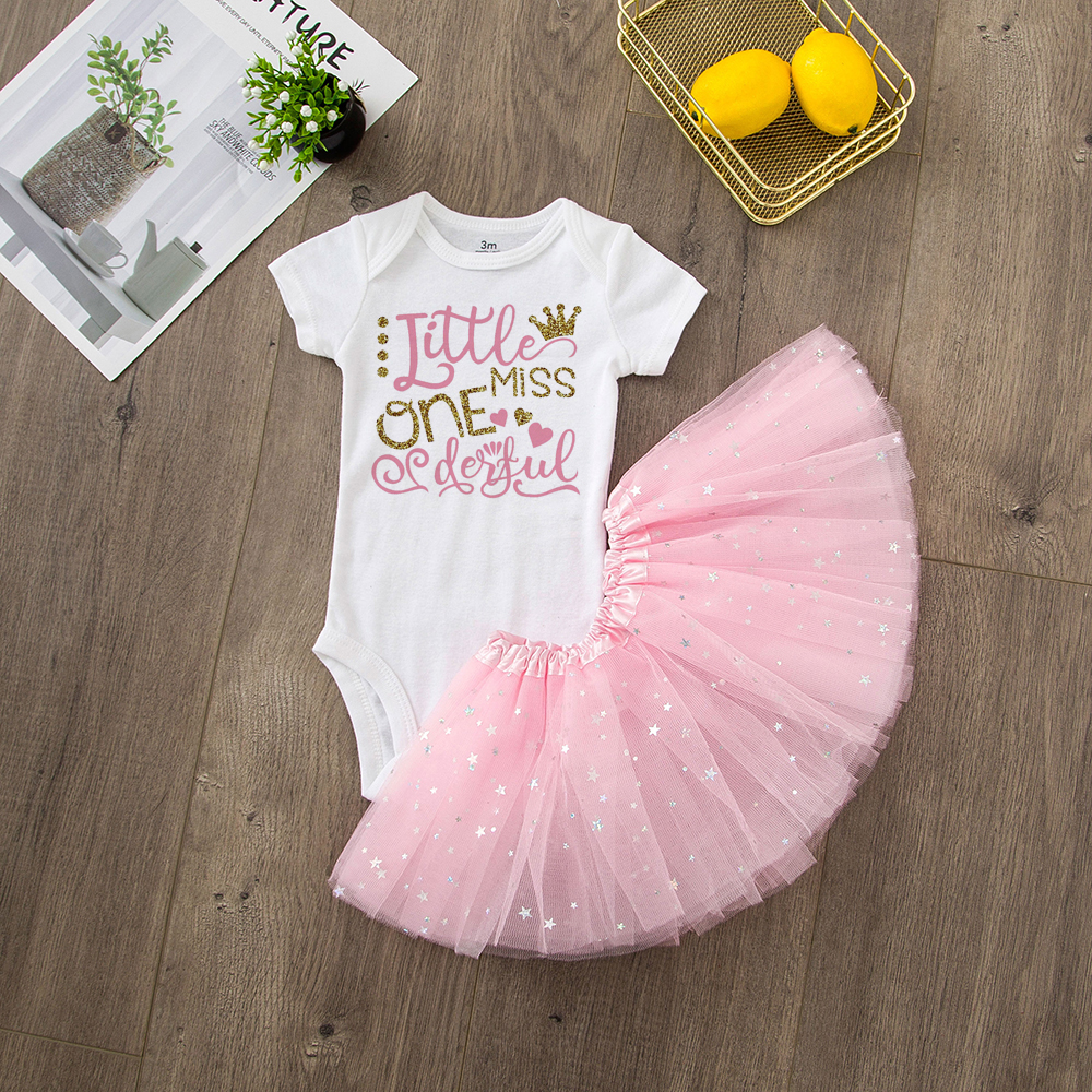 ONEderful Birthday Pink Gold Outfit 1st Birthday Party Girls Outfits Cake Smash Tutu+baby Bodysuits Summer Set Fashion Wear 23