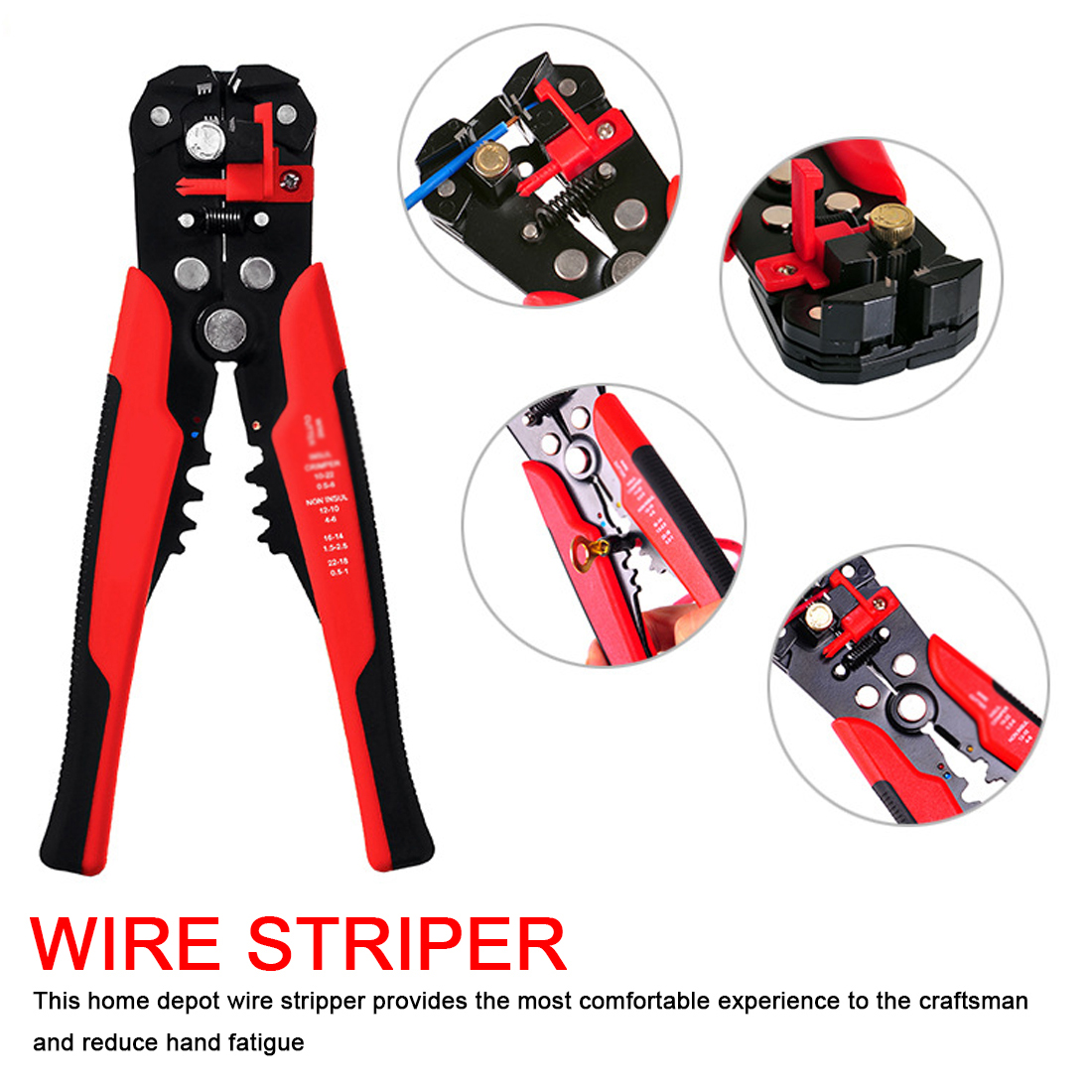 AWG 24-10 0.2-6.0mm2 Wire Stripper Multifunctional Automatic Stripping Pliers Cable Wire Stripping Crimping Tools Cutting