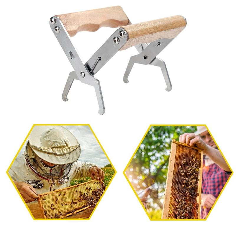 Practical Bee Hive Frame Holder Durable Wooden Handle Stainless Steel Beekeeping Safety Equipment Garden Breeding Tool