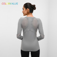 Colorvalue Slim Fit Stretchy Workout Yoga Shirts Women Basic Mesh Patchwork Nylon Sport Fitness Long-sleeved Top Activewear colorvalue hollow out sport shirts top women slim fit mesh yoga fitness top long sleeve high flexible solid gym workout jersey