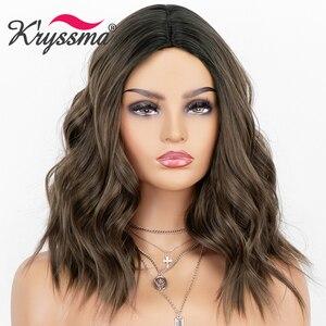 Image 1 - שורשים כהים קצר בוב גלי חום פאה 150% צפיפות סינטטי Ombre פאות לנשים שיער חום עמיד סיבים