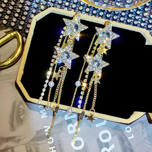 925 Silver Needle Crystal Pentacle Earrings Female Elegant Joker Atmosphere Rhinestone Earrings Pearl Tassel Earrings Earrings daimi shining pink keshi pearl earrings 10 11mm asymmetrical earrings elegant 925 silver earrings