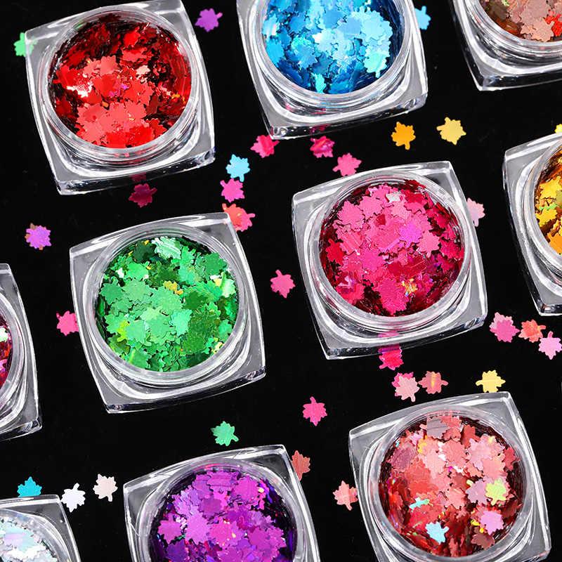 1 Box Bunglon Payet Maple Laser Multicolor Paliette Kuku Seni Glitter Flakes Uv Gel Polandia Alat Dekorasi