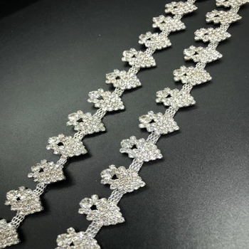 9x Crystal Rhinestone Trim Chain for Cloth Bag Shoes Cloth Party Decorations Silver Base
