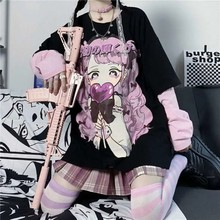 Long Sleeve Anime Kawaii Hoodie Clothes Spring Autumn Hip Hop Japanese Female Loose Harajuku Women Sweatshirts E Girl Clothes