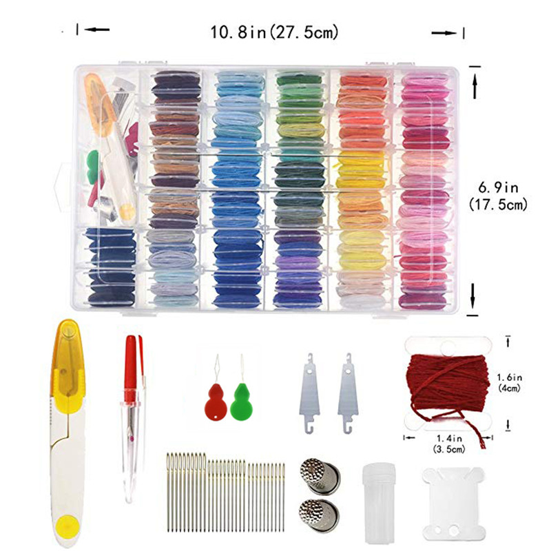 Embroidery Floss with Storage Box Mix 96 Colors Threaders With Floss Bobbins Includes 38 Pcs Sewing Accessories Kit For Beginner (2)