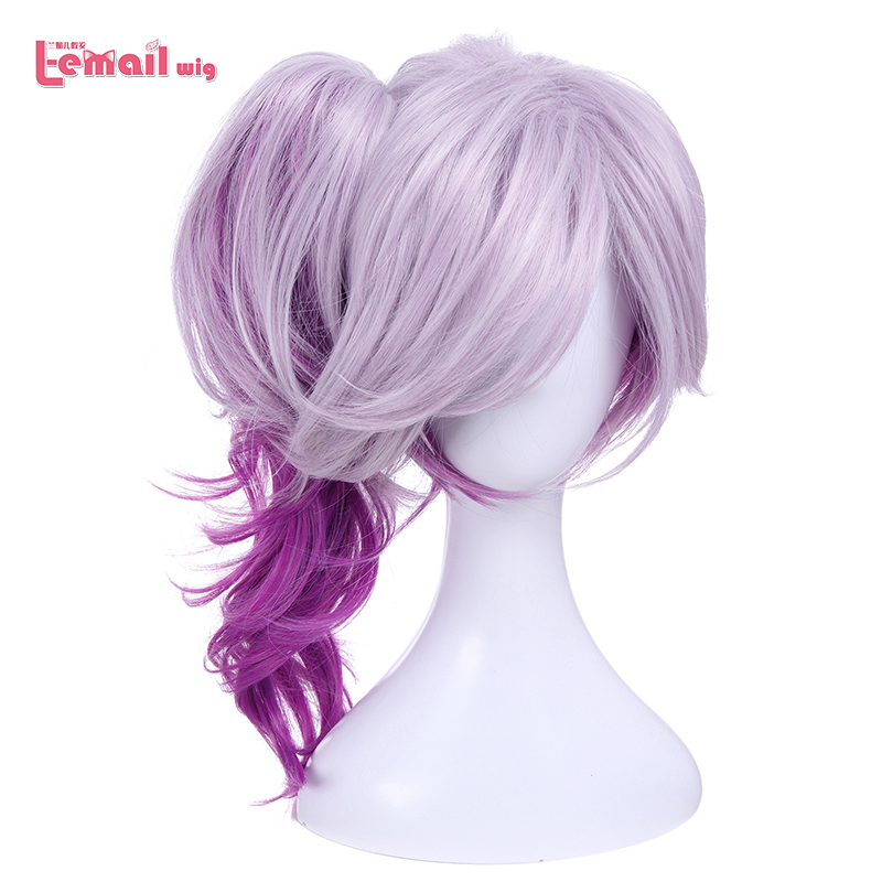 L-email Wig LOL Lux Cosplay Wigs The Lady Of Luminosity Mixed Purple Wavy Cosplay Wig Ponytail Heat Resistant Synthetic Hair