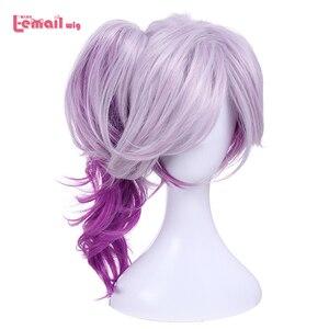 Image 1 - L email wig LOL Lux Cosplay Wigs the Lady of Luminosity Peluca de Cosplay ondulada púrpura mixta coleta pelo sintético resistente al calor