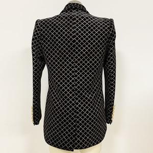 Image 3 - HIGH STREET 2020 Newest Designer Blazer Womens Lion Buttons Shawl Collar Classic Plaid Glitter Embellished Velvet Blazer Jacket