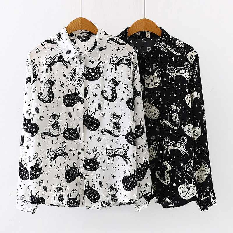 Women Harajuku Shirt kitten Print Autumn Long Sleeve Tops and Blouses Office Lady Long Sleeve White Black Blouses