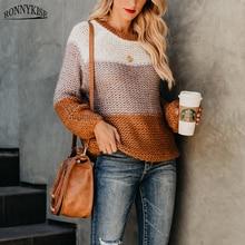RONNYKISE трикотажные свитера женские модные с длинным рукавом Rond шеи Лоскутные Топы Осень Зима теплые пуловеры Женская одежда