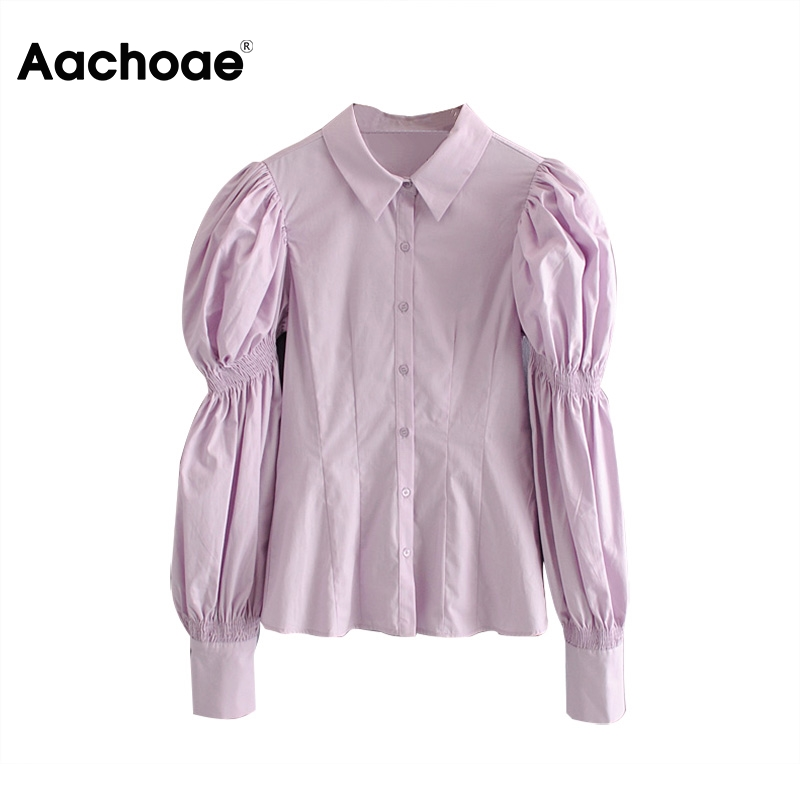 Aachoae Women Puff Long Sleeve Blouses 2020 Ladies Solid Casual Blouse Top Chic Office Turn Down Collar Shirt Tunic Blusas Mujer