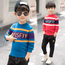 2019 Casual Striped Toddler Boys Sweaters Pullovers Cotton Christmas Sweater Boy Winter Plus Velvet Sweater Boys Kids Knitwear
