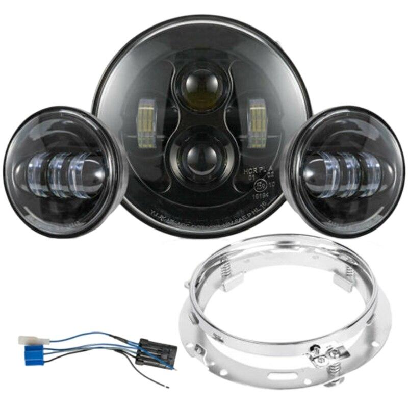 7Inch 80W LED Headlight Kit 4.5 Inch 60W Fog Light Passing Lamp For Harley