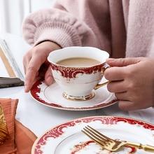 Английский послеобеденный чай чашка и блюдце керамический кофейный набор Европейский Пномпень посуда для напитков Красный
