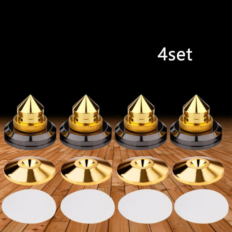 4Set Shockproof Speaker Spike Golden Cone Base Pads for AUdio Amplifier Cd Kit