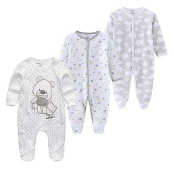 0-12Months Baby Rompers Newborn Girls&Boys 100%Cotton Clothes of Long Sheeve 1/2/3Piece Infant Clothing Pajamas Overalls Cheap - baby romper16, 6M