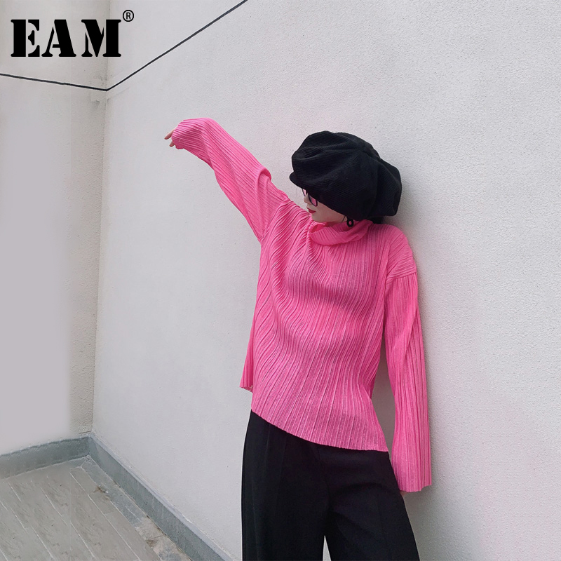 [EAM] Women Leisure Perspective Pleated Temperament T-shirt New Turtleneck Long Sleeve  Fashion Tide  Spring Autumn 2020 1R354