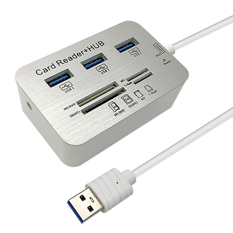 3.0 Usb Hub And Card Reader COMBO High Speed Hab With MS/SD/M2/TF And With 3 Ports Usb Splitter For Computer