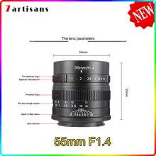 7artisans – objectif de caméra pour Canon eos-m, 55mm F1.4, grande ouverture, Portrait, mise au point manuelle, monture E Fuji, livraison gratuite