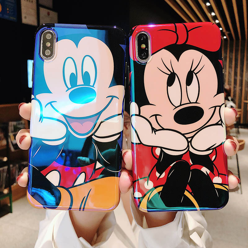 Cute Cartoon Mickey Minnie blu-ray soft phone cover for iphone Xr Xs Max X 6 6S 7 8 Plus mobile phone back case capa image