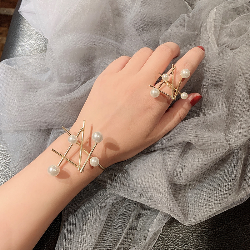 US $1.83 10% OFF|French Retro Irregular Pearl Open Ring Bracelet bangles  Set Ornament on AliExpress