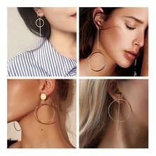 2020 novo metal de ouro longo círculo pingente brincos borla para mulheres moda jóias declaração geométrica voor vrouwen