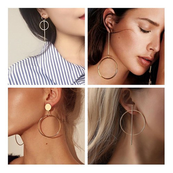 2020 NEW Gold Metal Long Circle Pendant Earings Tassel Earrings for Women  Fashion Jewelry Statement Geometric Voor Vrouwen