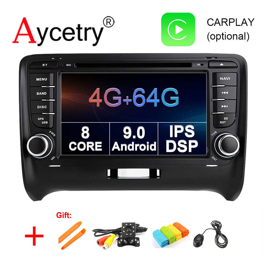 4g 64g android 9.0 2 din carro dvd player gps para audi tt mk2 8j 2006 2007 2008 2009 2010 2011 2012 multimídia player rádio dsp fm