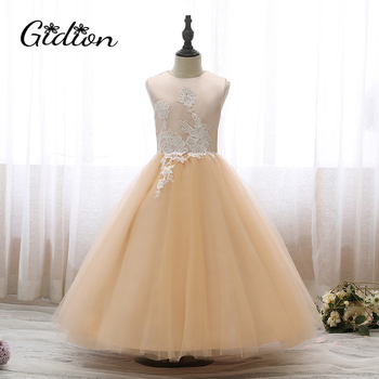Girl Formal Princess Dress For Girl Elegant Birthday Party Dress Girl Embroidered Princess Flower Girl Wedding Party Dress children strap princess dress girl off the shoulder chiffon print dress skirt wedding party elegant flower baby girls dress