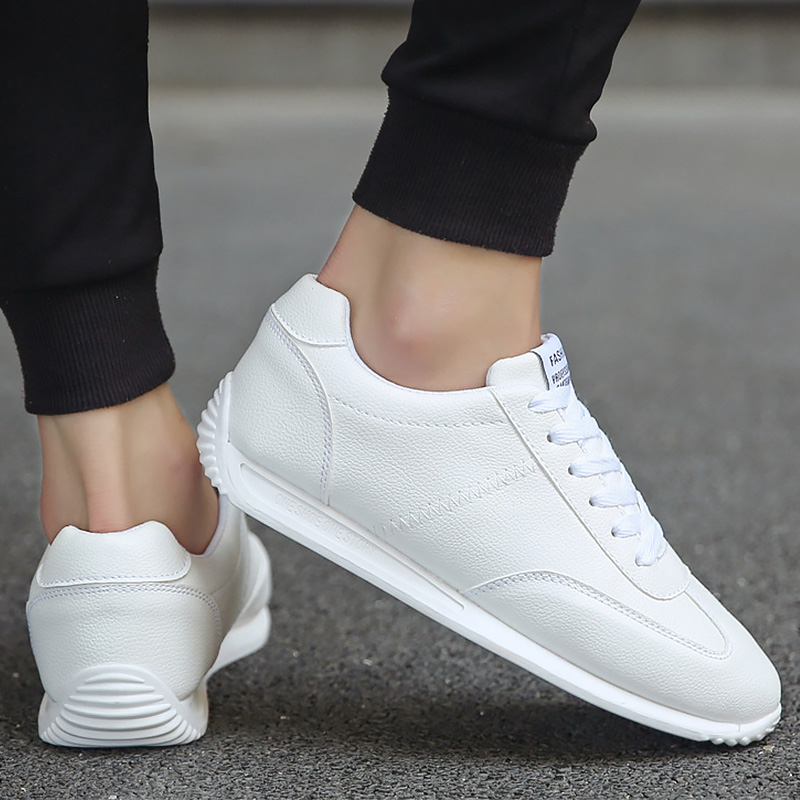 2020 Spring New Arrival High Quelity White Leather Shoes Boys Casual Sneakers Men Flat School Shoes Comforthable Sneakers