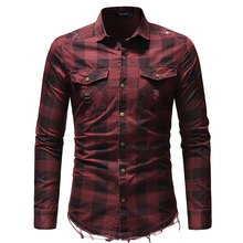 Man Plaid Shirt Long Sleeved Turn Down Collar British Style Red And Black Shirts For Men Casual Male Tops camisa D40