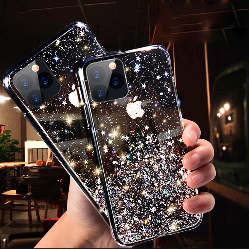 Funda de teléfono Bling Glitter para iPhone 11 12 Pro Max XR XS Max X 7 8 6S Plus funda trasera transparente de silicona suave para iPhone 11Pro