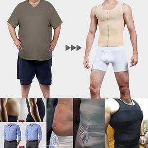 Image 5 - Camisa moldeadora para hombre, chaleco adelgazante, ropa interior moldeadora para el cuerpo, ceñida a la cintura, entrenador, faja de Control de barriga, corsé para hombre