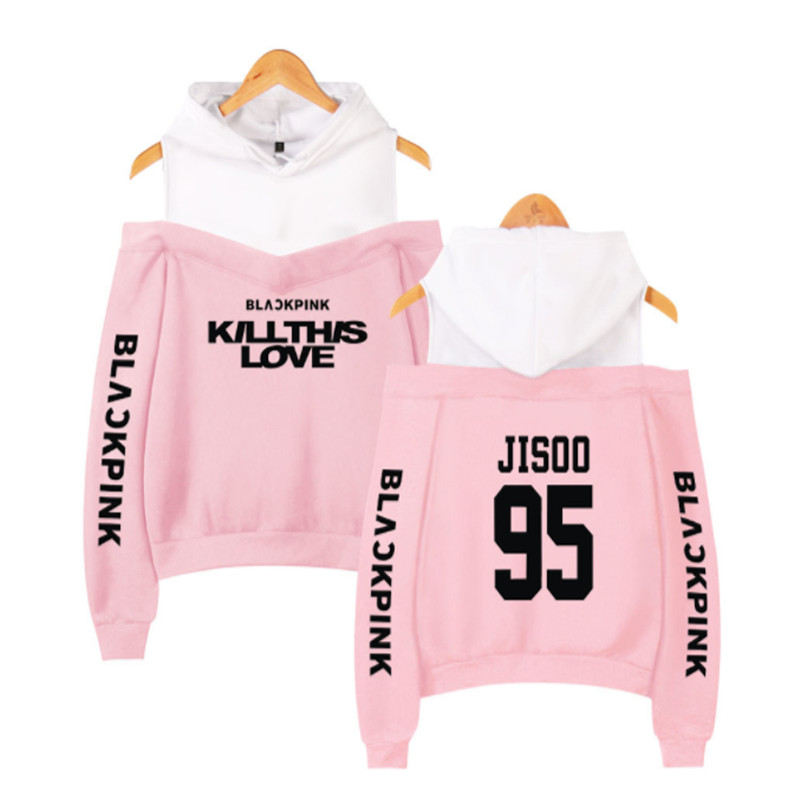 Kpop Hoodies Kpop Blackpink Sexy Off Shoulder Hoodies Sweatshirts Women Team Member Sweatshirt Girl Group Black Pink Clothes