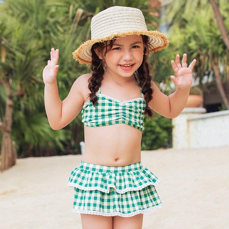 2109 Korean-style New Style CHILDREN'S Swimwear GIRL'S Baby Small CHILDREN'S Split Type Plaid Skirt Bikini Swimwear