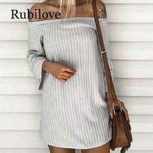 Rubilove NEW Women Striped Shirt Dress Ladies Off Shoulder Long Sleeve Bandage Summer Dresses Womens Casual Mini Party Beach Dre off shoulder ladies sweater dresses cotton knitted 2018 summer womens mini dresses long sleeve party dress robe longue femme