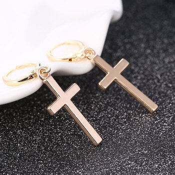 1Pairs Cross Pendant Women Earrings Punk Rock Style Drop Earrings Simple Dangle Earrings Ear Jewelry Gift Creative Glod Silver image