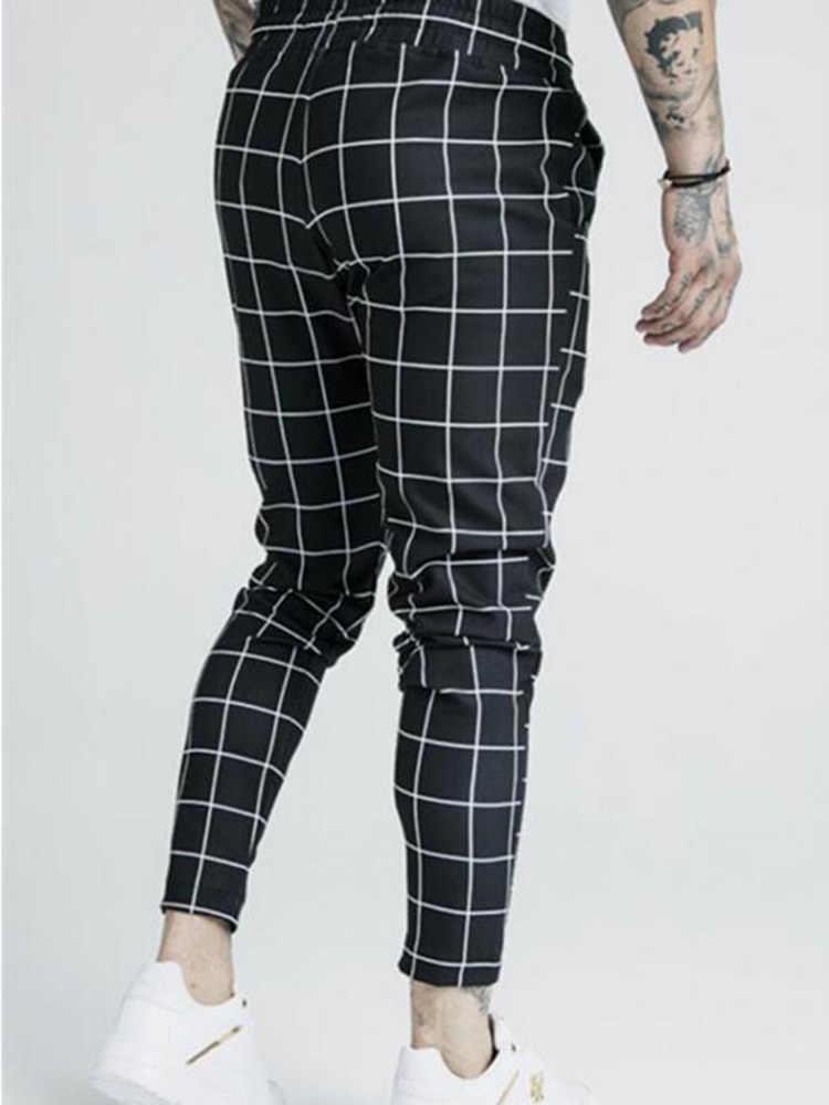 אופנה גברים 2019 חדש משובץ סיק משי הדפסה מקרית ספורט מכנסיים גברים רחוב היפ הופ אופנה Slim מכנסיים פוליאסטר