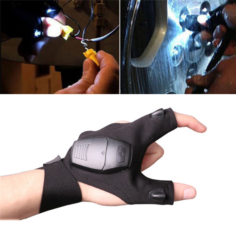 Outdoor Fishing Magic Strap Fingerless <font><b>Glove</b></font> <font><b>LED</b></font> Flashlight Torch Cover Survival Camping Hiking Rescue Tool <font><b>Cycling</b></font> <font><b>LED</b></font> <font><b>Gloves</b></font> image