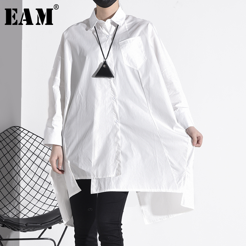[EAM] Women White Asymmetrical Big Size Blouse New Lapel Long Sleeve Loose Fit Shirt Fashion Tide Spring Autumn 2020 1S02400