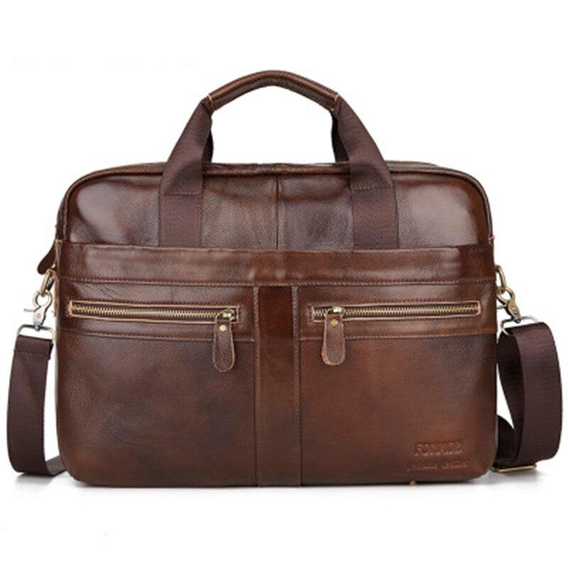 Head Layer Cowhide Men's Bag Handbag Oil Wax Leather Computer Bag  Aktetas Bolso Hombre Bolso Para Ordenador Laptoptas Malette